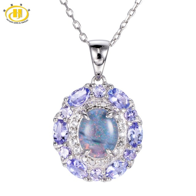 Hutang Genuine Triplet Opal & Tanzanite Solid 925 Sterling Silver Pendant Necklace Gemstone Fine Jewelry Women's Xmas Gift