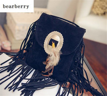 BEARBERRY 2017 sizzling gross sales girls suede leather-based shoulder luggage tassel telephone luggage feather girls crossbody luggage drop transport MN08