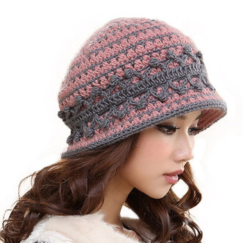 Winter Wool Warm Hat Short Brim Casual Caps For Women 3