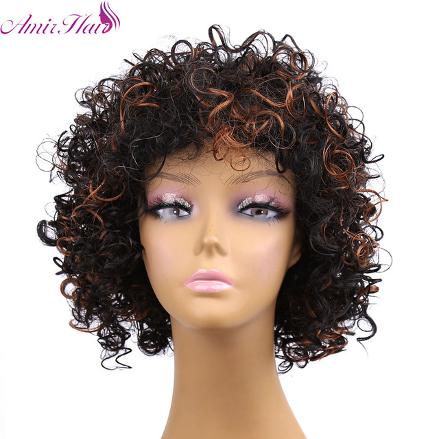 Cheap Afro Kinky Synthetic None Lace Front Wig African American Short Wigs For Black Women Black AndBrown Female Cosplay Wig
