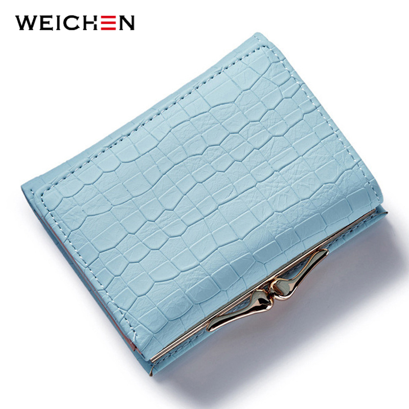 WEICHEN Clasp Lock Tre Fold Crack Läder Plånbok Kvinnor Små Mynt Purse Card Håll Mini Change Purse Blue Female Wallets Hot