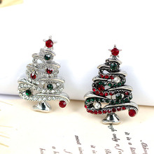 CINDY XIANG Fashion Rhinestone Christmas Tree Brooches for Women Vintage Elegant Suit Pins Coat Backpack Accessories Jewelry