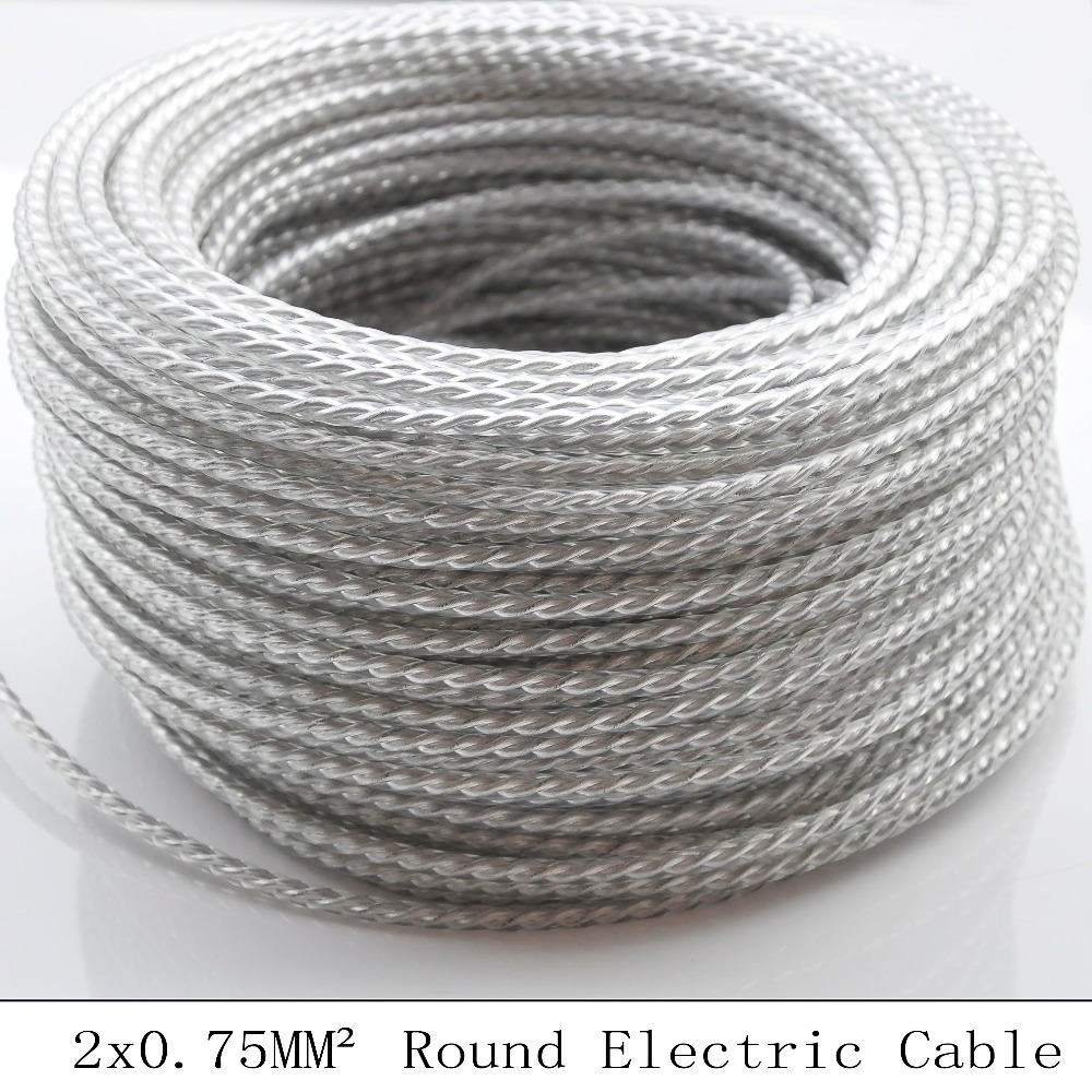 2*0.75mm 5M Round Textile Wire Transparent Twisted Cable Braided ...
