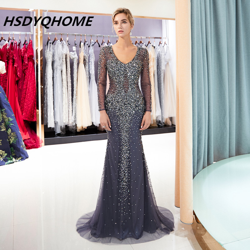 HSDYQHOME Sexy Luxury   Evening     dresses   Heavy Beading Handmade Elegant Mermaid   Evening   prom   Dress   Long Sleeve V-neck Real photo