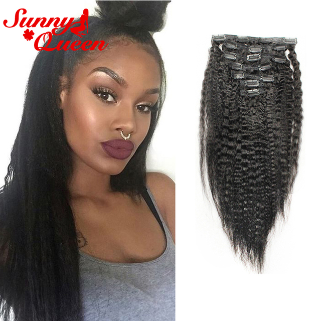 Filipino Clip In Human Hair Extensions Kinky Straight Natural Hair