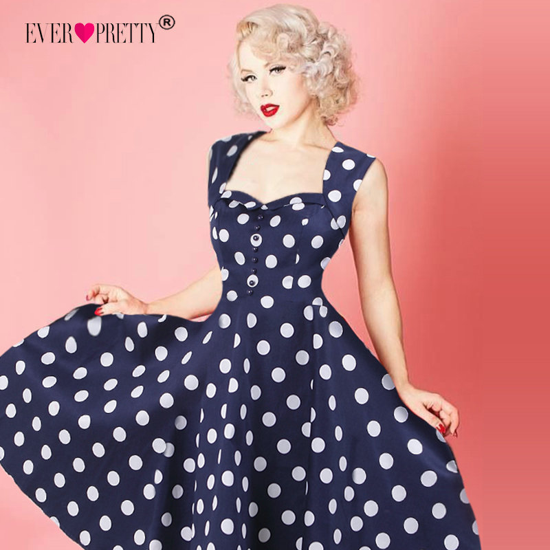 Cocktail     Dresses   Ever Pretty 2019 New Arrival Sexy Sleeveless A-line Dots Vintage Vestidos For Graduation Robe   Cocktail