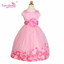 Été Nouvelles Filles Robe Sans Manches Filles Tutu Fleurs Ceinture Robes de Soirée De Mariage Robe Enfants Vêtements