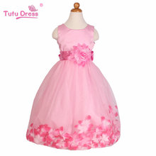 Summer New Girls Dress Sleeveless Girls Tutu Flowers Belt Dresses Party Wedding Dress Kids Clothes