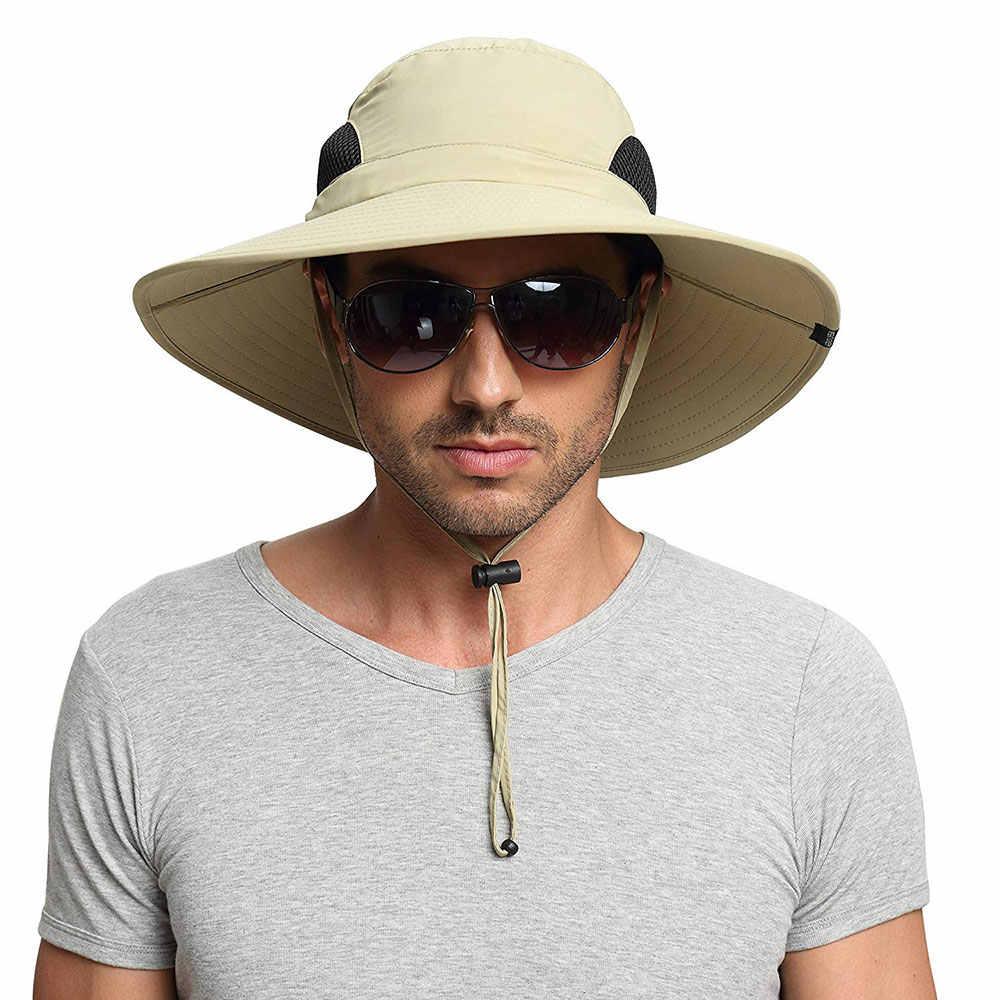 af36e4959cae8 ... High quality UPF 50+ Summer Wide Brim Bucket Hat Waterproof Breathable  Packable black Men Boonie ...