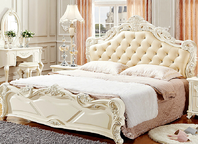 Wood Carving Bedroom Furniture Bed Luxury Special Design Cozi Decent