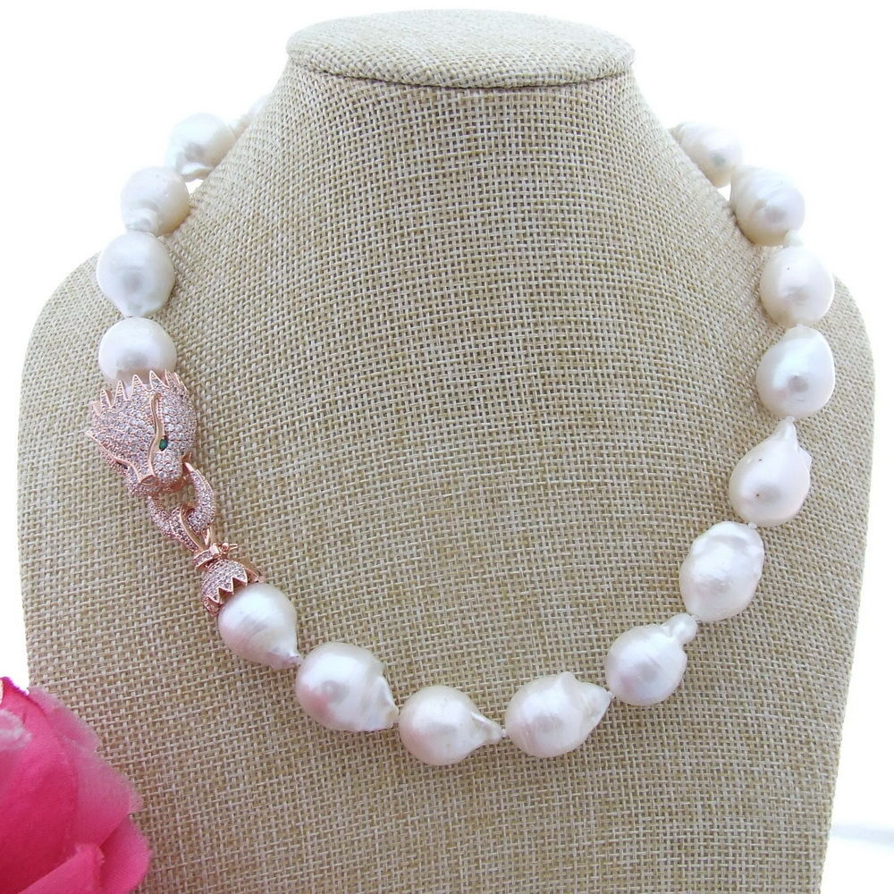 N111805 18 15x22MM White Keshi Pearl Necklace CZ ClaspN111805 18 15x22MM White Keshi Pearl Necklace CZ Clasp