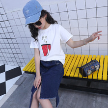 kids clothes Girls summer suit 2019 new fashion girls round neck short-sleeved T-shirt denim skirt childrens