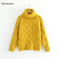 Weinsky Casual Women Knitted Sweater And Pullovers Full Sleeve White And Yellow Ladies Sweater Women Winter 2018 Female Fashion