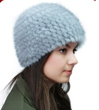 Real mink fur hat black/ brown/ white autumn winter dense warm hat of genuine mink fur knitted , women's mink beanie H918
