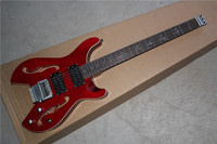 China 's guitar factory sale steinberger model body wine red Headless electric guitar with Double F hole 17 11