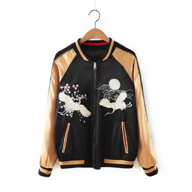 Two Side Wear Mujeres Bordado Phoenix Bird Corto Chaquetas Marca Bomber Jacket P