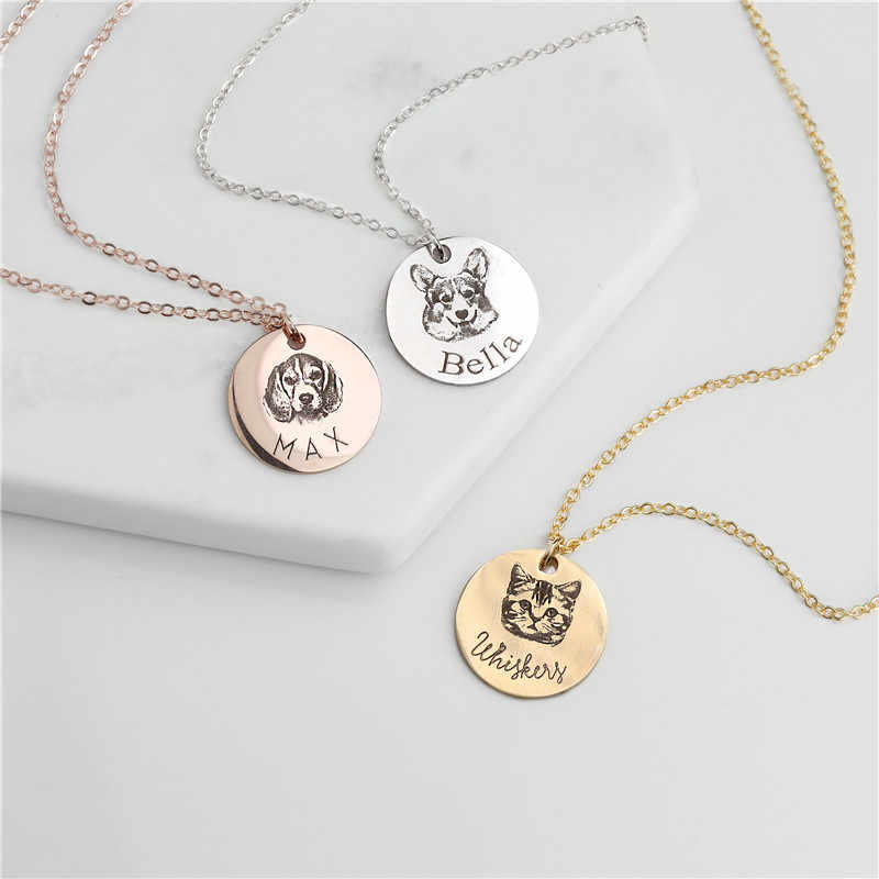 Custom Animal Photo Necklace Stainless Steel Engraved Disc Pet Necklace Women Men Personalized Jewelry Friendship Gifts