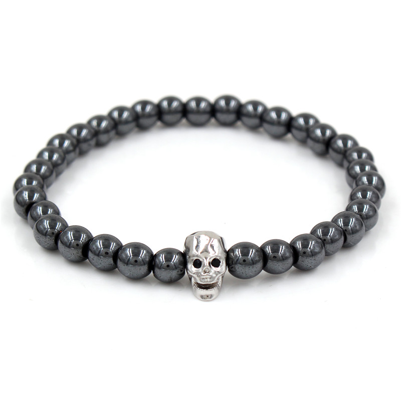 CZ Skull Bracelet 6mm Hematite Stone Beads For Women Jewelry Men Pulseira Masculina Feminina Erkek Bileklik Pulsera Hombre Mens in Charm Bracelets from Jewelry Accessories