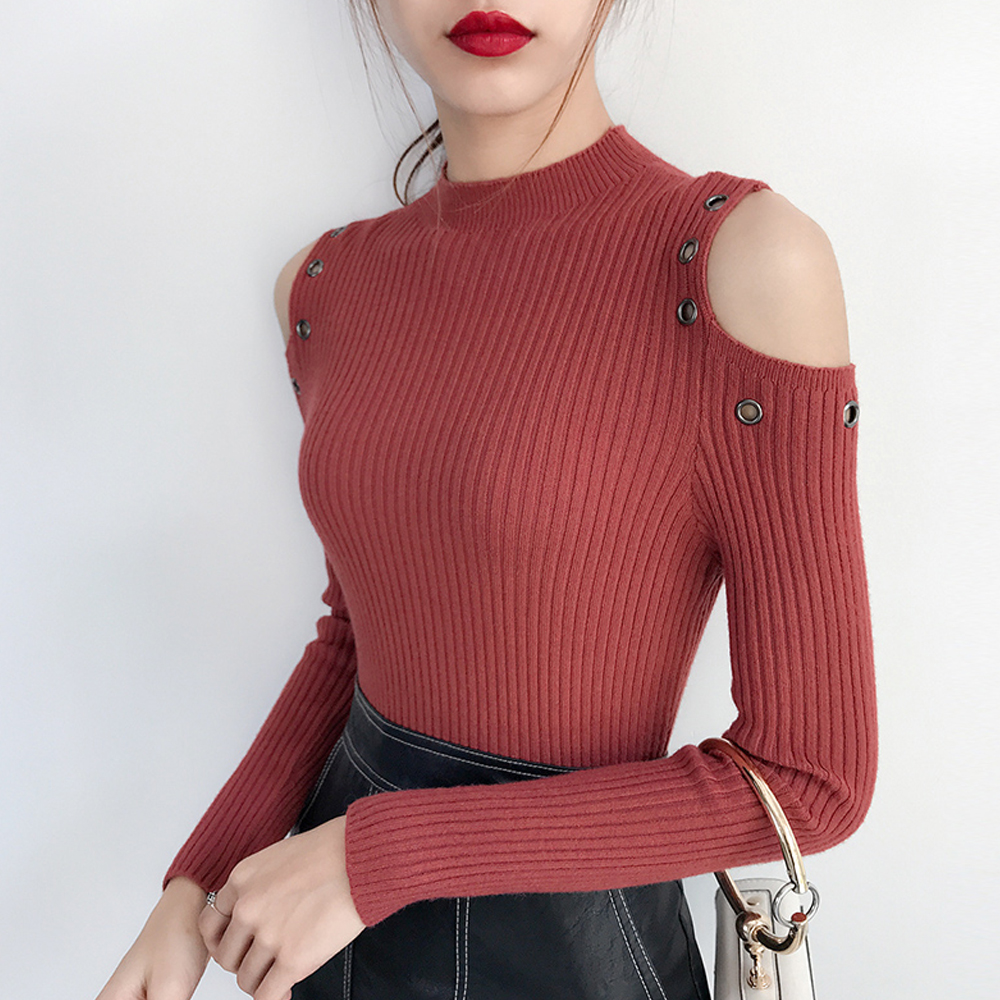 New 2019 Autumn Winter Women Knitted Sweater Sexy Off Shoulder Long Sleeve Slim Pullover Jumper Sweater High Stretch Casual Tops