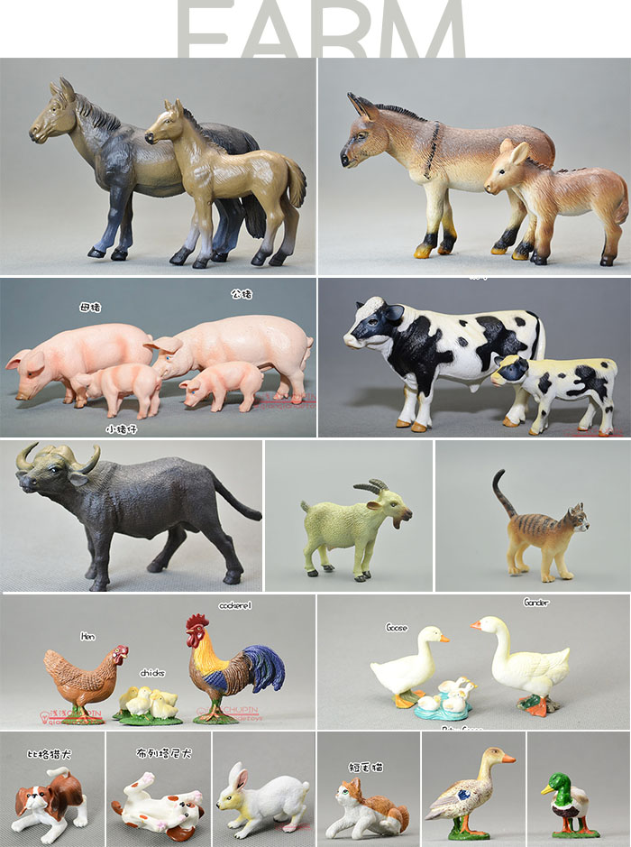 PVC  FARM  animal model toy wild animals figure 25PCS/set brand new animals action figure toys mother wild horse 12cm length pvc figure model toy for gift collection kids school study