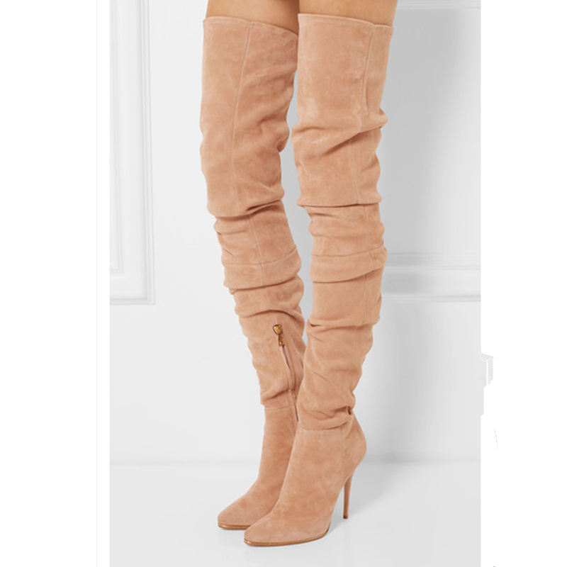 Sexy High Thin Heel Women Over Knee Boots Zip Design Flock Long Booties Luxury Brand Runway Super Star Shoes European Style Shoe jialuowei women sexy fashion shoes lace up knee high thin high heel platform thigh high boots pointed stiletto zip leather boots