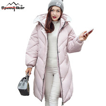 Speed Hiker winter jacket women Long warm down cotton-padded hooded loose style Casual thicken 8636