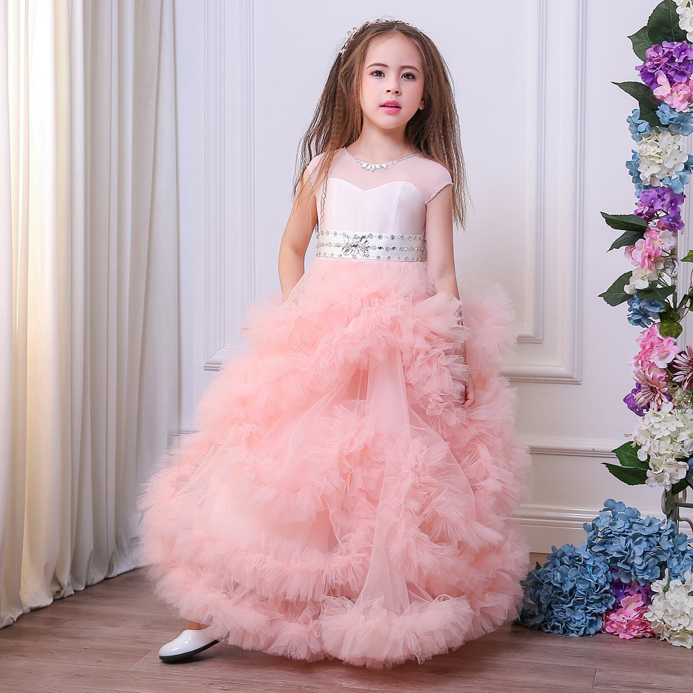 2017 Linda Rosa Riza vestidos de niña para la boda Correa moldeada ...