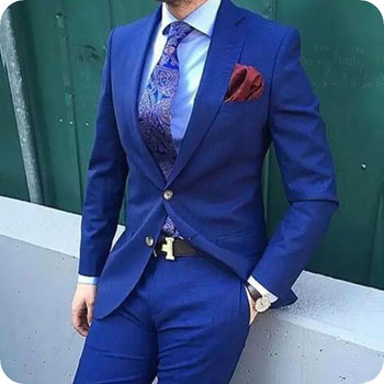 New Personality Trend Royal Blue Men Suits 2PCS Business Casual Suit Jacket Large Size Man Blazer Terno Masculino Costume Homme