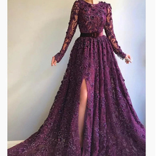 Borgonha prom 2019 tripulação decote lace beading sequins lace manga comprida vestidos de noite árabe vestidos de festa