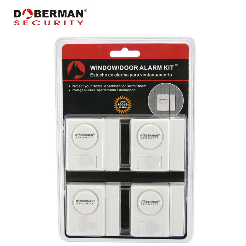 Doberman Security Window Door Alarm Kit 4 Pack Door Window Detector Magnetic Warning Intruder Home Security Alarm System Kit