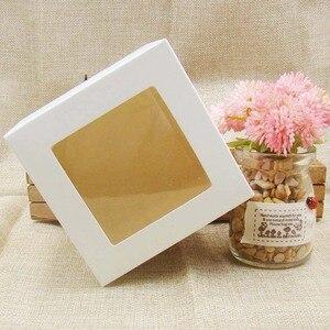 Image 2 - 10*10*10m 3 cores branco/preto/caixa de papel de estoque com janela de pvc transparente. Caixa de embalagem de janela de papel