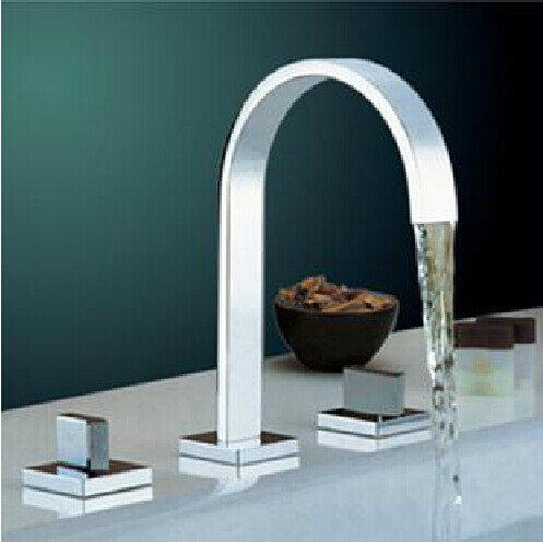 Polished Chrome Torneira Banheiro Two Handles Deck Mounted Bathroom Widespread Faucet Bathroom Basin sink Mixer Tap