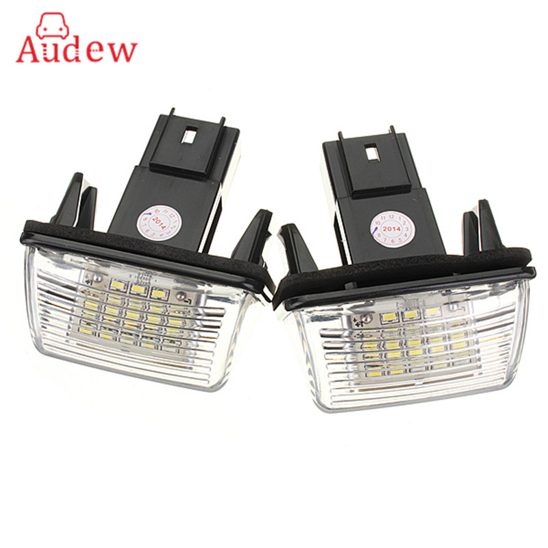 2Pcs 12V 18 LED License Number Plate Light Bulbs Lamp For Peugeut 206 207 306 CITROEN C3 C4 5 XSARA Free Error 2pcs 12v white led license plate light number lamp for renault twingo clio megane lagane error free