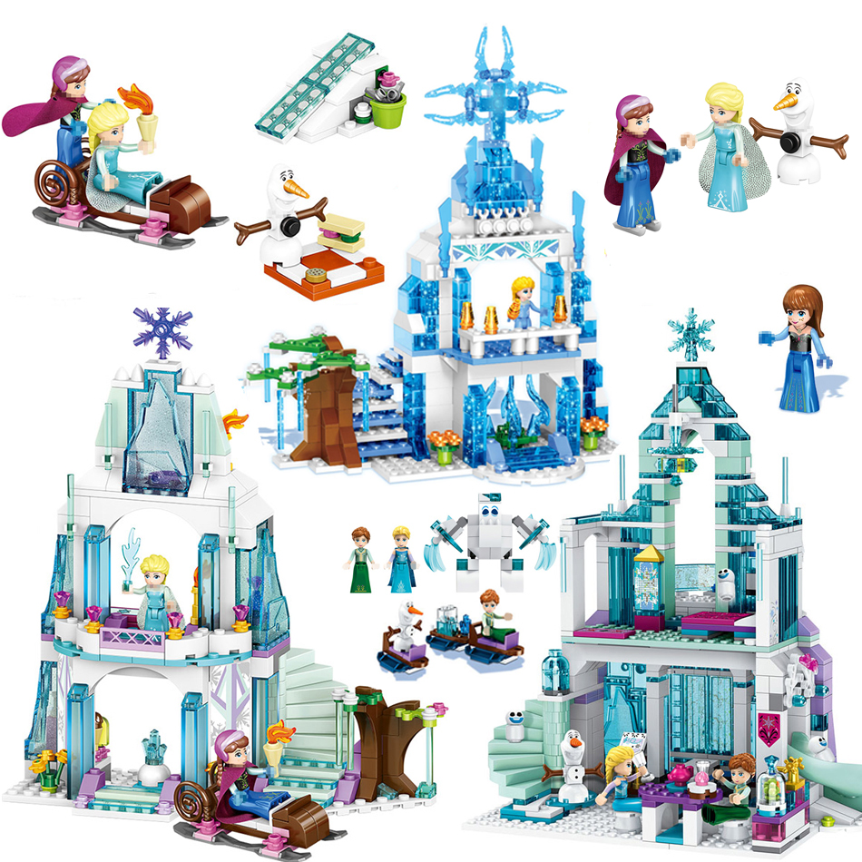 цены Snow Queen Anna Elsa Ice Castle Building Blocks Compatible LegoINGLY Friends 41148 Princess Anna Set Bricks Christmas Gifts Toys