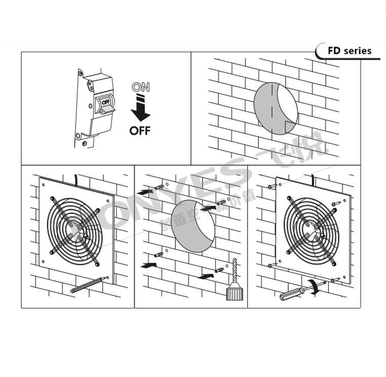 220V 40W Exhaust fan kitchen fume exhaust fan industrial