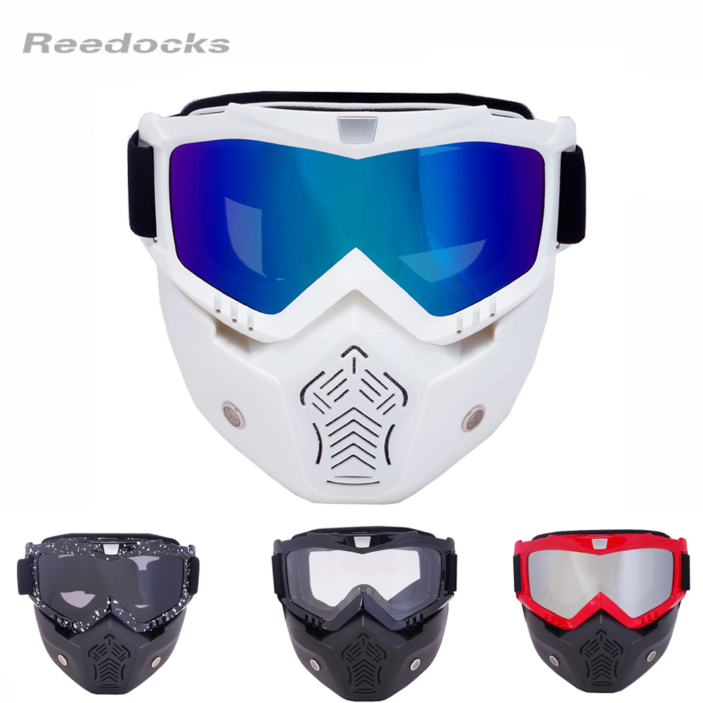 REEDOCKS New Modular Mask Detachable Glasses Mouth Filter Ski Goggles Men Women Windproof Snow Snowboard Skiing