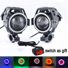 2pcs Motorcycle LED Headlight Fog Light with 1pc switch as gift for U7 125W 3000LM Devil Angel Eye DRL Moto Spot light