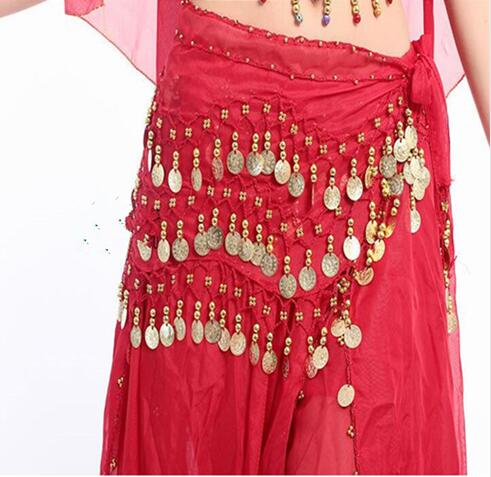 Belly Dance Scarf Costume Silver Coins Skirt Belt Hip Wrap Waist Chain Professional Stage Clothing Woman Dance Wear 128 Coins