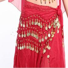 Belly Dance Scarf Costume Silver Coins Skirt Belt Hip Wrap W