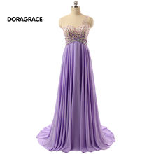 robe de soiree Romantic One Shoulder Open Back Chiffon Rhinestone Beaded Evening Dresses Long Prom Gowns DGE032