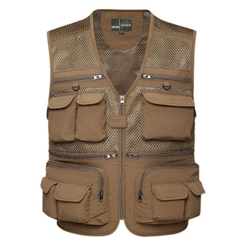 Brieuces Brand Mens Vests Sleeveless Jacket Cotton Colete Travel Pocket Reporter Journalist Photographer Vest Waistcoat Gilet