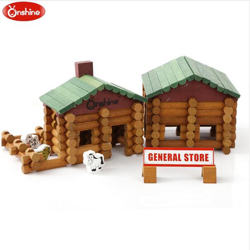 Onshine 170 pièces/ensemble blocs de construction en bois ferme et magasin ensemble de bûches jouets magasin général Treehaus bois cadeau d'anniversaire bébé jouets