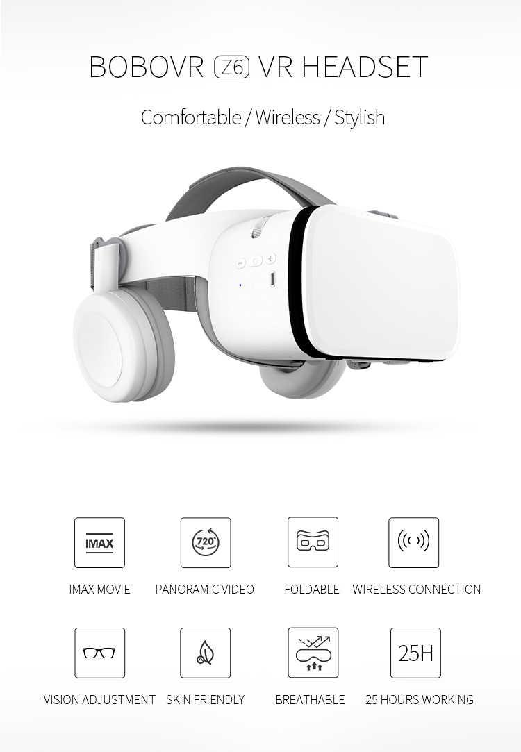 2019 новые Bobovr Z6 шлем 3D VR очки виртуальной реальности Гарнитура Bluetooth наушник для смартфона Google Cardboard