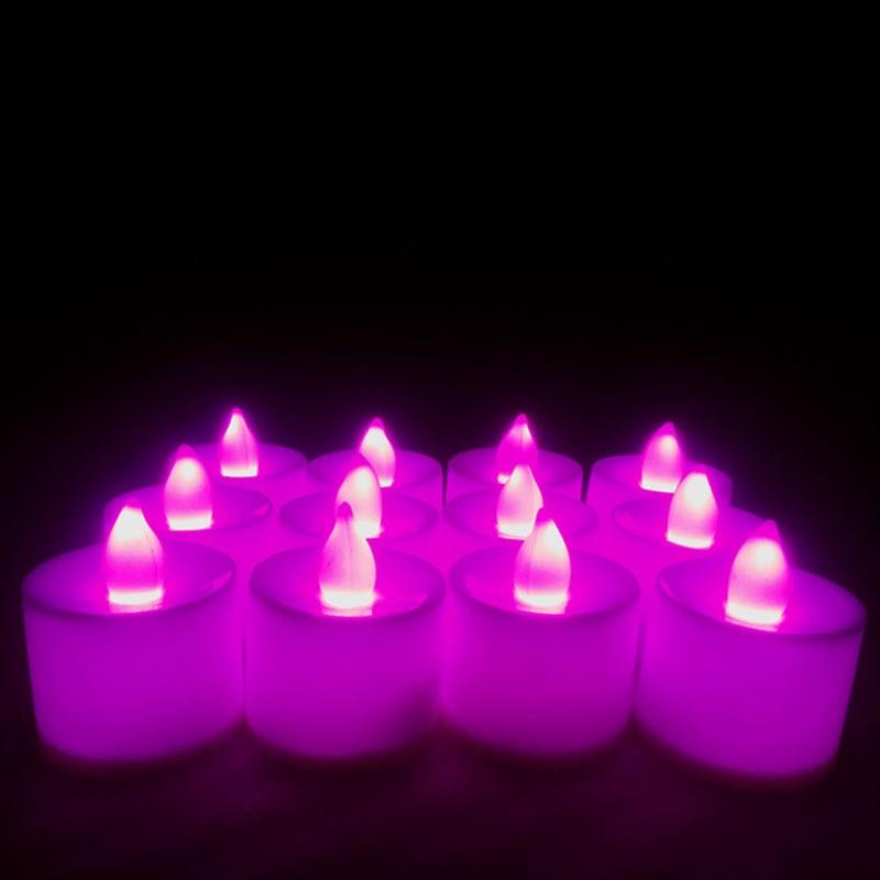 6pc batareya ilə işləyən LED şam rəngli lampa simulyasiya rəng - Ev dekoru - Fotoqrafiya 4