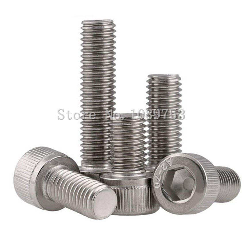 50Pcs M2 M2.5 M3 M4 304 Stainless Steel Hexagon Socket Head Cap Screws Hex Socket Screw Metric Bike Screw 2pc din912 m10 x 16 20 25 30 35 40 45 50 55 60 65 screw stainless steel a2 hexagon hex socket head cap screws