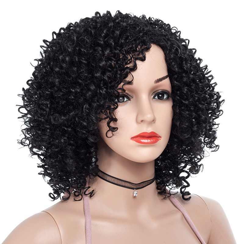 MSIWIGS короткие парики для черных и белых женщин афро-американский синтетический коричневый кудрявый парик Омбре термостойкие волосы