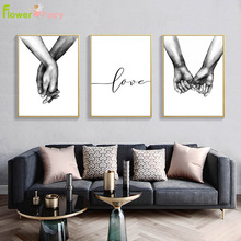 Hold Hands Nordic Poster Minimalist Painting Living Black And White Canvas Prints Love Wall Pictures For Room Unframed