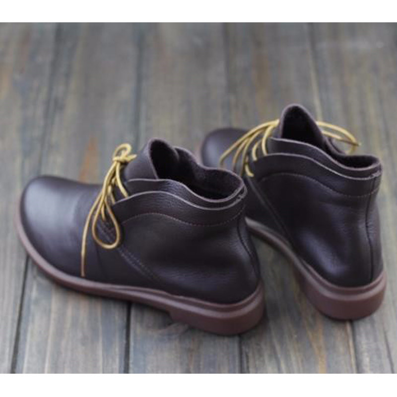 Sping Redonda Zapatos otoño Punta Mujer Calzado Tobillo Con Cordones Coffee Cuero Genuino Planas Hovinge Botas De B7qgwxxP8