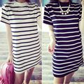 Summer Fashion Women Striped Round Neck Mini Dress Female Casual Short Sleeve Dresses Vestido