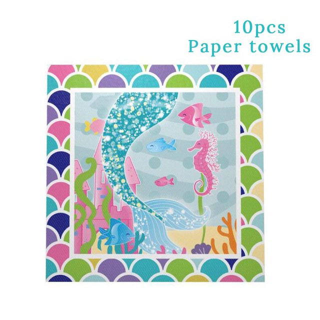10pcs Napkin Papers Mermaid party plates 5c64f5cb309a9